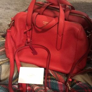 Fossil Corally Red Satchel with Shoulder Strap